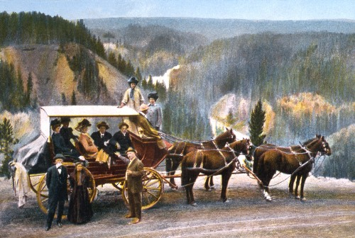 Postcard of a stagecoach near the Upper Falls of the Yellowstone River; Frank J Haynes; No date
