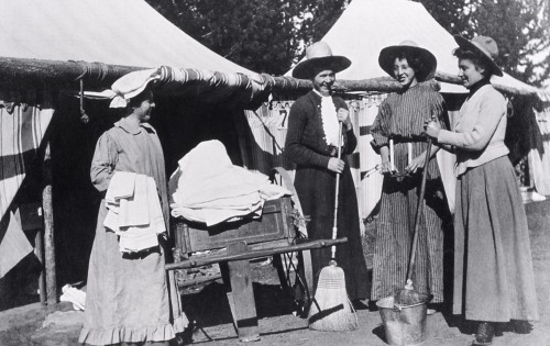 Wylie camp maids with brooms; Photographer unknown; Around 1908